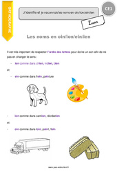 Noms en - oin, - ion, - ein, - ien - Cours, Leçon : 2eme Primaire