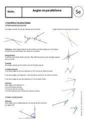 Angles - Parallélisme - Cours : 1ere Secondaire