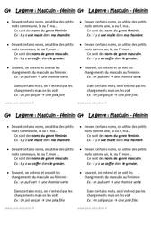 Masculin - Féminin - Le genre - Cours, Leçon : 2eme Primaire