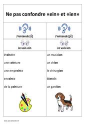 ein et ien - Ne pas confondre - Affiche pour la classe : 1ere, 2eme Primaire