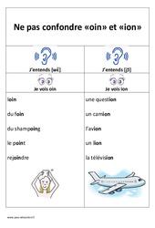 oin et ion - Ne pas confondre - Affiche pour la classe : 1ere, 2eme Primaire