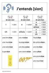 Son sion - ssion - tion - Affiche pour la classe : 1ere, 2eme Primaire