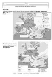 Expansion de l'occident - Exercices corrigés : 1ere Secondaire