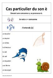Son è - Devant une consonne - Affiche pour la classe : 1ere, 2eme Primaire