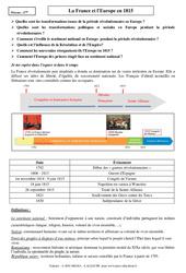 La France et l'Europe en 1815 - Cours - Histoire : 2eme Secondaire