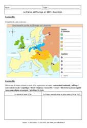 La France et l'Europe en 1815 - Exercices corrigés : 2eme Secondaire