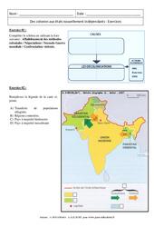 Des colonies aux états nouvellement indépendants - Exercices corrigés : 3eme Secondaire