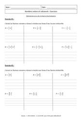 Opérations avec des écritures fractionnaires - Révisions : 3eme Secondaire