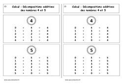 Décompositions additives des nombres 4 et 5 - Cours, Leçon : 1ere Primaire