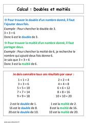 Doubles et moitiés - Affiche pour la classe - Calcul : 1ere Primaire