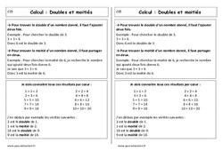 Doubles et moitiés - Cours, Leçon : 1ere Primaire