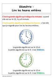 Lire les heures entières - Affiche pour la classe - Grandeurs et Mesures : 1ere Primaire