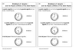 Lire les heures entières et demi - heures - Cours, Leçon : 1ere Primaire