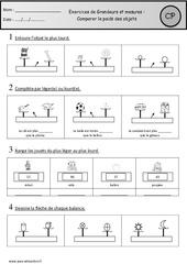 Exercices - Comparer le poids des objets : 1ere Primaire