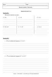 Equations du type x2= a  Exercices - Exercices - Racines carrées : 3eme Secondaire