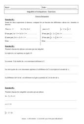 Notion d'inéquation - Exercices - Révisions : 3eme Secondaire