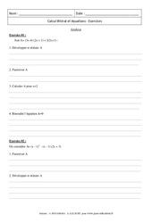 Synthèse - Calcul littéral et équations - Révisions : 3eme Secondaire