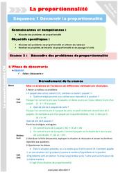 Résoudre des problèmes de proportionnalité - Séance 3 - Proportionnalité - Séquence 1 : 4eme, 5eme Primaire