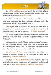 Été - Défi maths - Enigmes mathématiques : 4eme Primaire