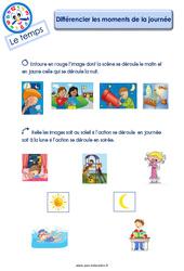 Différencier les moments de la journée - Le Temps : 2eme Maternelle - Cycle Fondamental