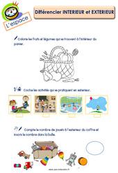 Différencier intérieur et extérieur - L'espace : 3eme Maternelle - Cycle Fondamental