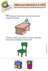 Différencier sur, sous et à côté - L'espace : 2eme Maternelle - Cycle Fondamental