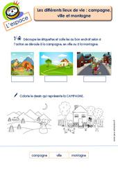 Différents lieux de vie (campagne, ville et montagne) - L'espace : 2eme Maternelle - Cycle Fondamental