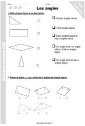 Angles - Exercices à imprimer : 5eme Primaire