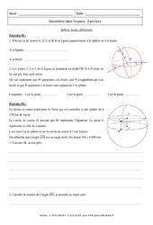 Sphère, boule, définitions - Exercices : 3eme Secondaire