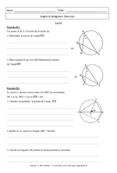 Angles et polygones - Calculs - Exercices : 3eme Secondaire