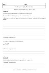 Calcul - Déterminer une fonction linéaire ou affine - Révisions : 3eme Secondaire