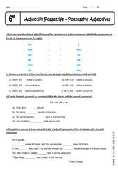 Adjectifs Possessifs - Exercices corrigés : 6eme Primaire