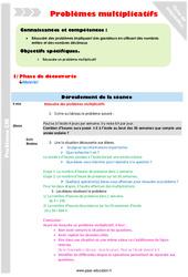 Problèmes multiplicatifs - Fiche de préparation : 5eme Primaire