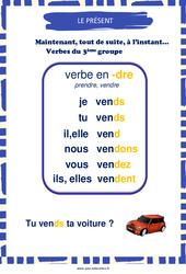Présent des verbes en - dre - Affiche de classe : 3eme, 4eme, 5eme Primaire