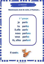 Présent des verbes du 1er groupe - Affiche de classe : 3eme, 4eme, 5eme Primaire