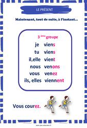 Présent du 3e groupe - Affiche de classe : 3eme, 4eme, 5eme Primaire