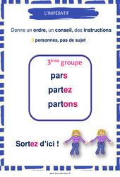 Impératif des verbes du 3e groupe - Affiche de classe : 3eme, 4eme, 5eme Primaire