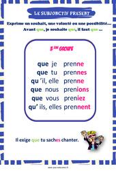 Subjonctif présent des verbes du 3e groupe - Affiche de classe : 3eme, 4eme, 5eme Primaire