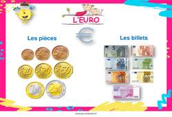 Euro - Affiche de classe : 1ere, 2eme Primaire