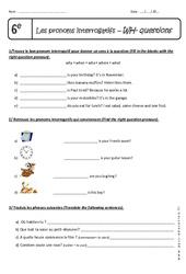 WH - questions - Exercices sur les pronoms interrogatifs : 6eme Primaire