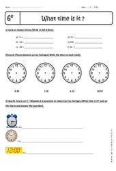 Heures et Minutes - Exercices corrigés - What time is it, please? : 6eme Primaire