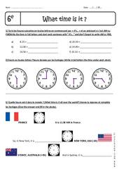 What time is it, please? - Heure et Minute - Exercices à imprimer : 6eme Primaire