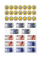 Pièces et billets en euros - Planche à découper : 2eme Primaire