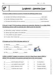 Génitif - Exercices à imprimer : 6eme Primaire