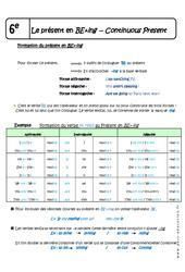 Présent continu - Cours - Présent en BE+ing - Continuous Present : 6eme Primaire