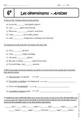 Déterminants - Exercices corrigés - Anglais : 6eme Primaire