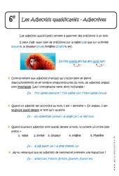 Adjectifs qualificatifs - Adjectives - Cours - Anglais : 6eme Primaire