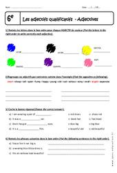 Adjectifs qualificatifs - Adjectives - Exercices corrigés : 6eme Primaire