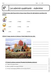 Adjectives - Exercices sur les adjectifs qualificatifs en anglais : 6eme Primaire