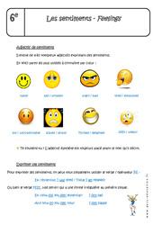 Sentiments - Feelings - Cours : 6eme Primaire